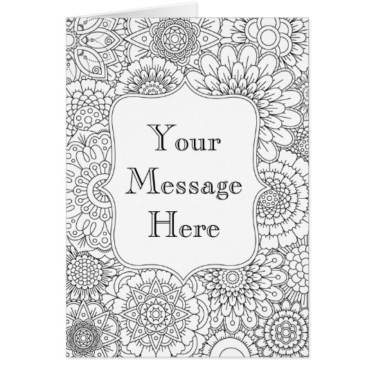 Birthday Card Coloring Pages: Adult Coloring Book Personalized Greeting Card