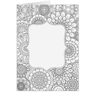 Adult Coloring Book Style DIY Greeting Card