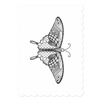 Adult Coloring Butterfly 5x7 Invitation Scalloped