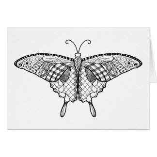 Adult coloring butterfly Card