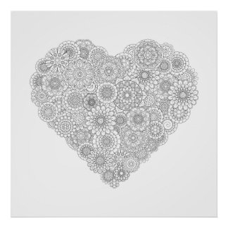 Adult Coloring Flower Heart Poster (Large)