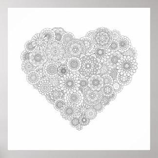 Adult Coloring Flower Heart Poster (Medium)