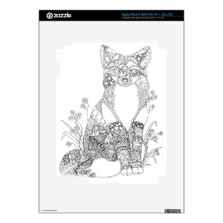 Adult Coloring Fox Animal Art Decal For iPad 3