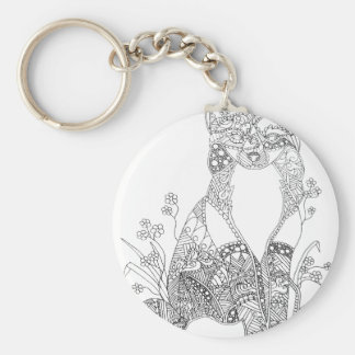 Adult Coloring Fox Animal Art Keychain
