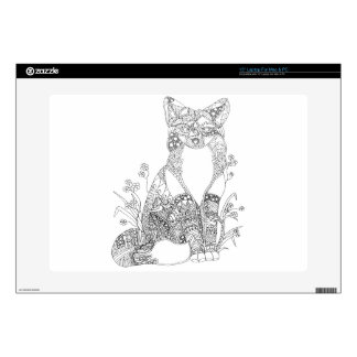"""Adult Coloring Fox Animal Art Skins For 15"""" Laptops"""