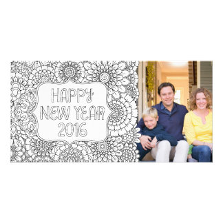 Adult Coloring Happy New Year Photo Card