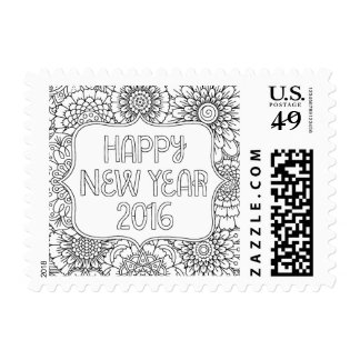 Adult Coloring Happy New Year Postage Stamp