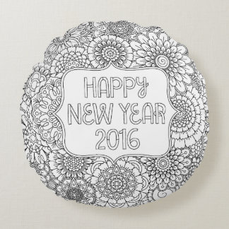 Adult Coloring Happy New Year Round Pillow