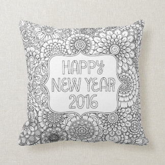 """Adult Coloring Pillow: """"Happy New Year 2016"""" Throw Pillow"""