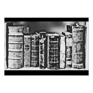 Adult Coloring Poster: Antique Books on Shelf Poster