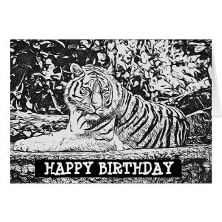 happy birthday tiger coloring pages | Tiger Happy Birthday Cards - Greeting & Photo Cards | Zazzle