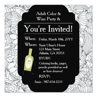 Adult Coloring Wine Party•Floral Card