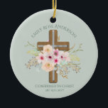 """Adult CONFIRMATION Gift - Floral Cross Personalize Ceramic Ornament<br><div class=""""desc"""">Attractive flowers and cross decorative confirmation item with three text fields which you can edit for any other event as required.   __________________________________________________________________________________  1. For assistance,  matching items or custom design FOLLOW this store and CONTACT designer LeahG via the tab below.</div>"""