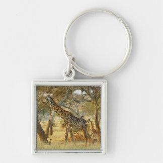Adult female and juvenile Giraffe, Giraffa Keychain