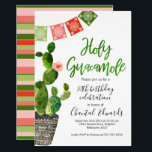"""Adult Fiesta Birthday Invitation<br><div class=""""desc"""">Are you looking for a fiesta birthday invitation? This simple design features a potted cactus and Mexican bunting flag on a white background. I've also added a calligraphy style heading which can't be edited. The design also includes a striped pattern on the back of the invitation . More invitation designs...</div>"""