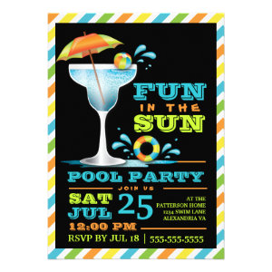 Adult Fun in Sun Pool Party Cocktail Invitation