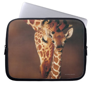 Adult Giraffe with calf (Giraffa camelopardalis) Laptop Computer Sleeves