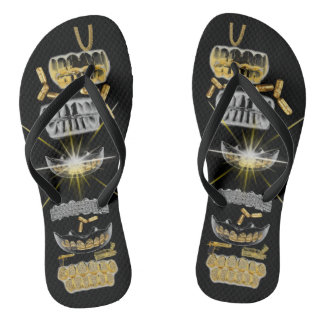 Adult, Gold Grills, bullets and chain Black Flops Flip Flops