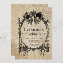 Adult Halloween Party Vintage Gothic Skull Invitation