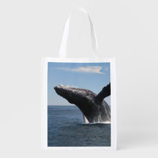 Adult Humpback Whale Breaching Reusable Grocery Bag