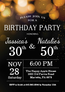 Joint birthday party invitations announcements zazzle adult joint birthday party invitation gold glitter filmwisefo