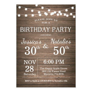 Adult birthday invitations zazzle adult joint birthday party invitation rustic wood stopboris Images