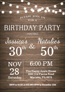Joint birthday party invitations announcements zazzle adult joint birthday party invitation rustic wood filmwisefo