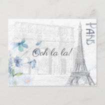 Adult Paris Themed any occasion party add photo Invitation Postcard