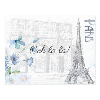 Adult Paris Themed any occasion party add photo Postcard