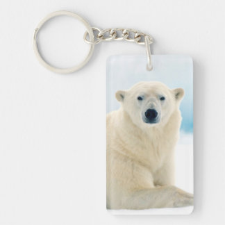 Adult polar bear large boar on the summer ice Double-Sided rectangular acrylic keychain