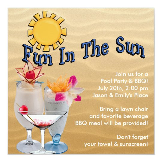 Adult Pool Party and BBQ Card