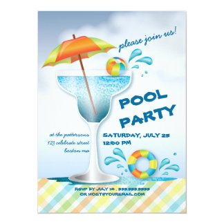 """Adult Pool Party Summer Cocktail Invitation 5.5"""" X 7.5"""" Invitation Card"""