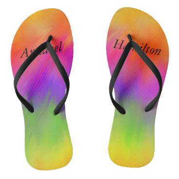 Adult Rainbow Flip Flops with your Name