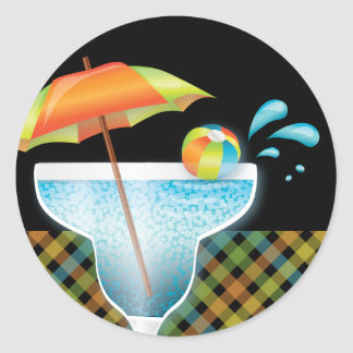 Adult Style Pool Party Summer Cocktail Sticker