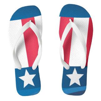 Adult, Wide Strap Flip Flops/American Flag Flip Flops