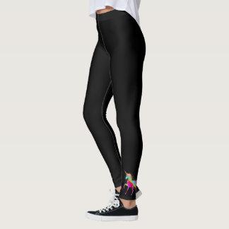Adult Woman's Gold Glitter Rainbow Unicorn - Black Leggings