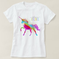 Adult Woman's Gold Glitter Rainbow Unicorn T-Shirt