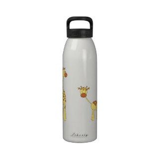 Adulto y jirafa del bebé Dibujo animado Botallas De Agua