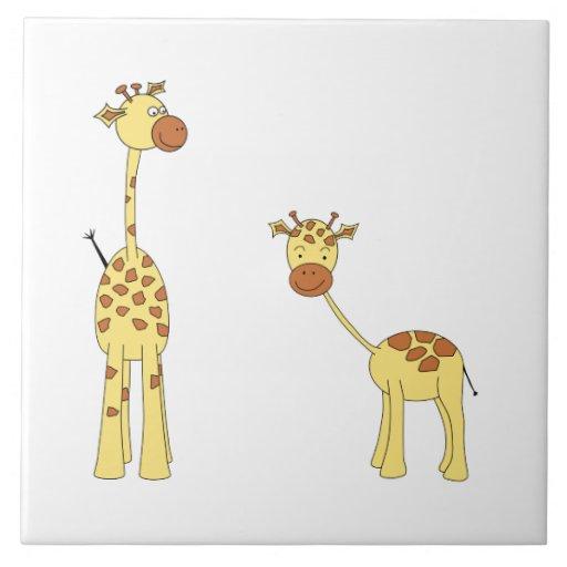 Adulto y jirafa del bebé. Dibujo animado Azulejo Cuadrado Grande