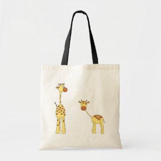 Adulto y jirafa del bebé. Dibujo animado Bolsa Tela Barata