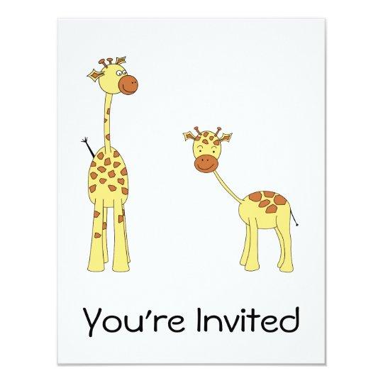 """Adulto y jirafa del bebé. Dibujo animado Invitación 4.25"""" X 5.5"""""""