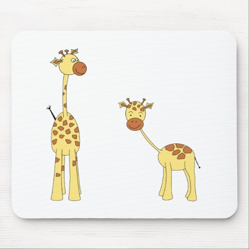 Adulto y jirafa del bebé. Dibujo animado Mousepad
