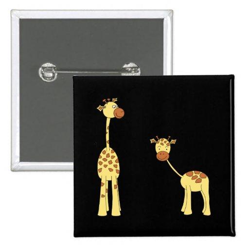Adulto y jirafa del bebé. Dibujo animado Pin Cuadrada 5 Cm