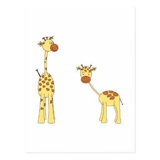 Adulto y jirafa del bebé. Dibujo animado Postal