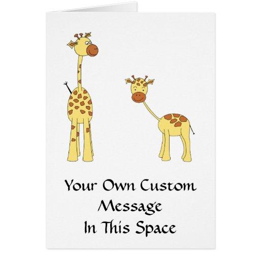 Adulto y jirafa del bebé. Dibujo animado Felicitacion