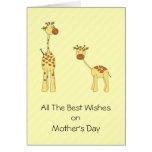 Adulto y jirafa del bebé. Dibujo animado Tarjetas