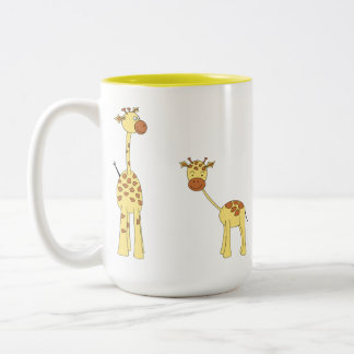 Adulto y jirafa del bebé. Dibujo animado Taza De Dos Tonos