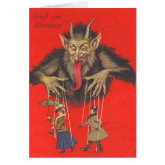 Adultos de Krampus Puppeteering Tarjeton