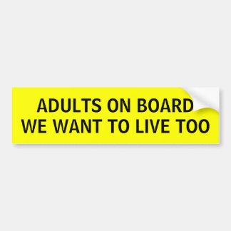 Adultos divertidos a bordo pegatina para el parach pegatina de parachoque