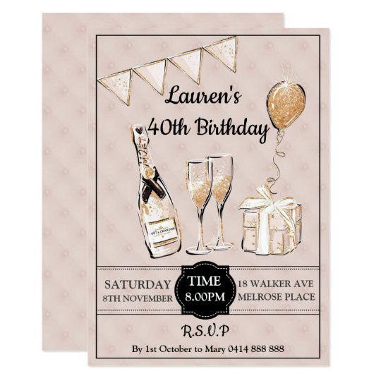 Adults 30th 40th 50th Champagne Birthday Party Invitation
